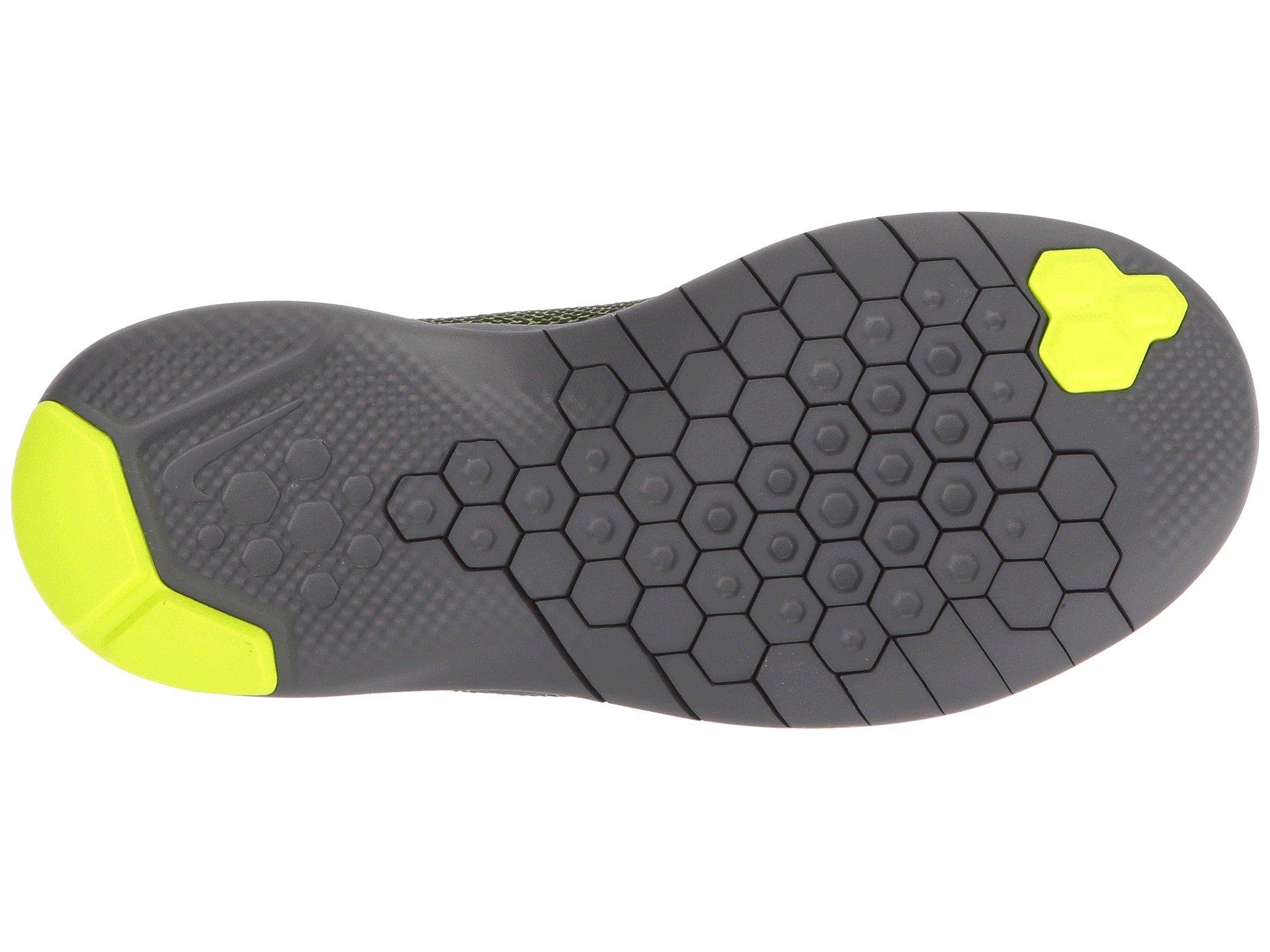 Nike Kids Flex Experience RN 7 (GS) Running Shoes (3.5 Big Kid M, Black/Metallic Dark Grey/Volt/Dark Grey) by Nike (Image #4)