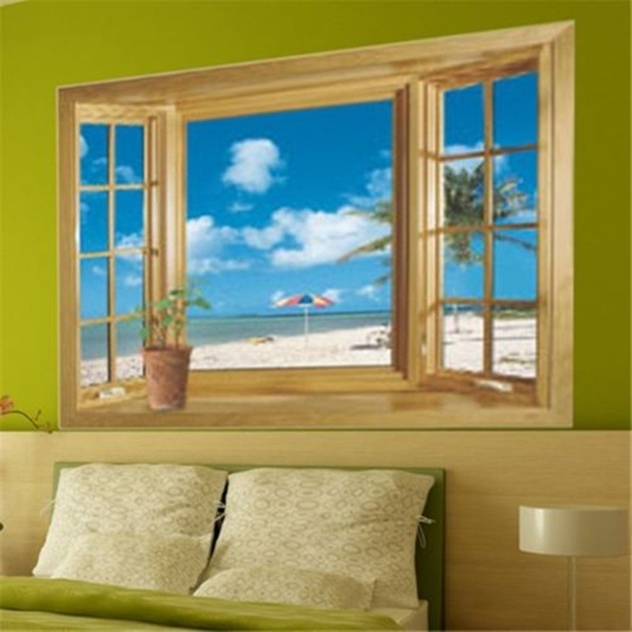 3D Beach Window View Removable Wall Stickers Vinyl Decal Home