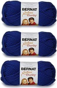 Bernat Softee Chunky 3-Pack Yarn, 2.8oz, Super Bulky 6 Gauge -Royal Blue - Machine Wash & Dry