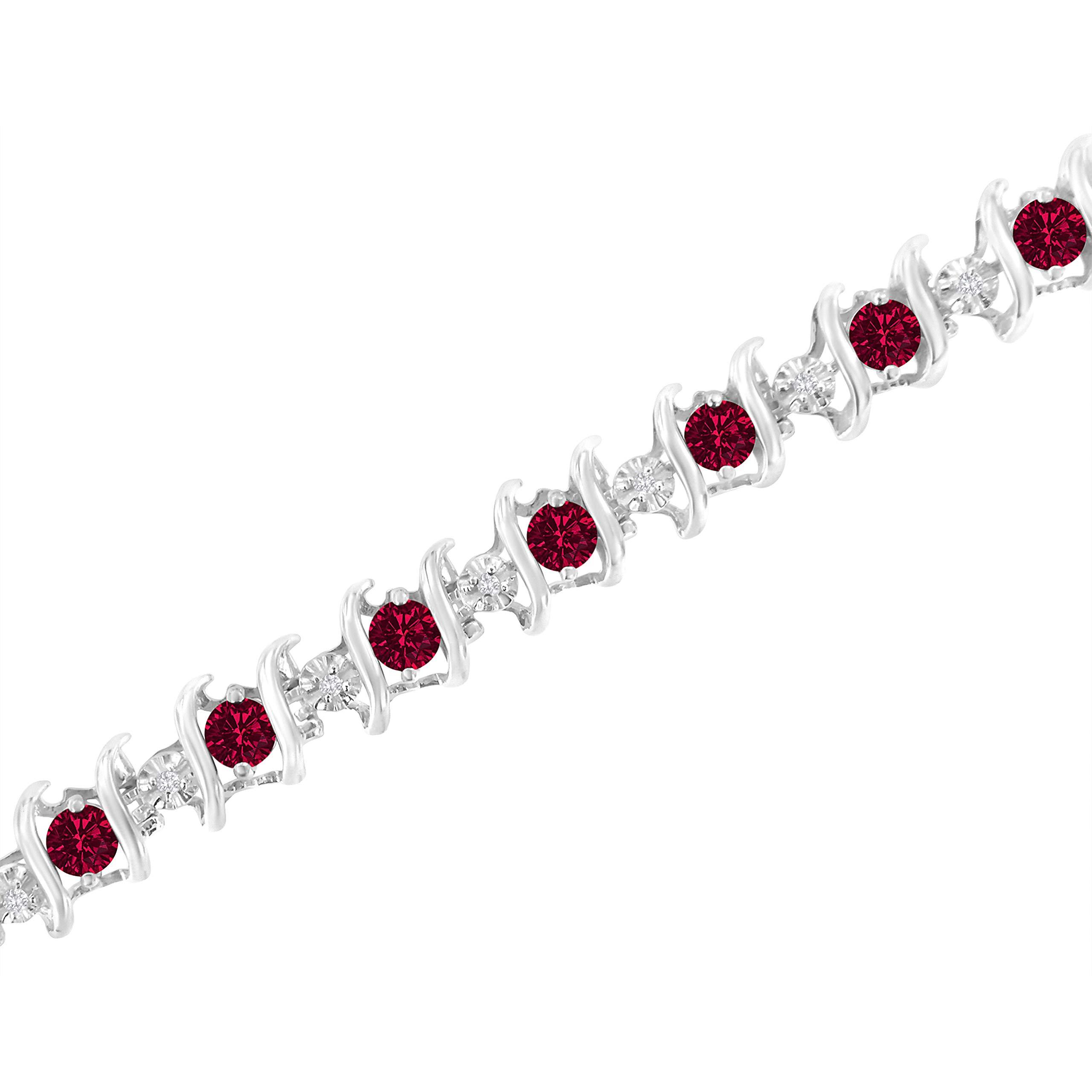Original Classics Sterling Silver Lab Created Ruby and Diamond S-Link Tennis Bracelet (H-I, I1-I2) by Original Classics (Image #4)