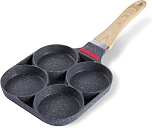 4-Cup Egg Pan with Non-stick Teflon Coating, 7.5 inch Aluminum Egg Frying Pan, Wood Grain Handle Pancake Pan, Multi-purpose for Frying Eggs, Burgers (Gas, Induction, Electric Cooker)