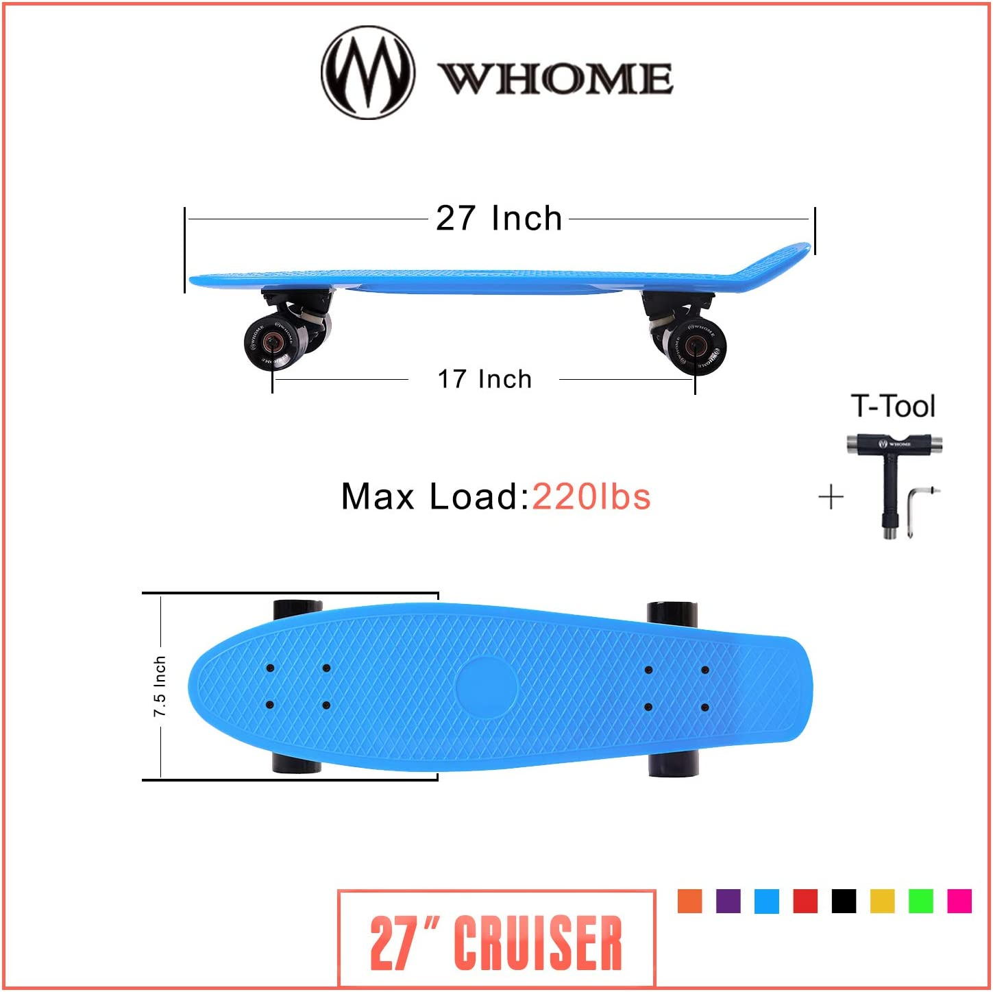 WHOME Skateboard Complete for Adults and Beginners 27 Inch Cruiser Skateboard Complete for Cruising Commuting Rolling Around T-Tool Included