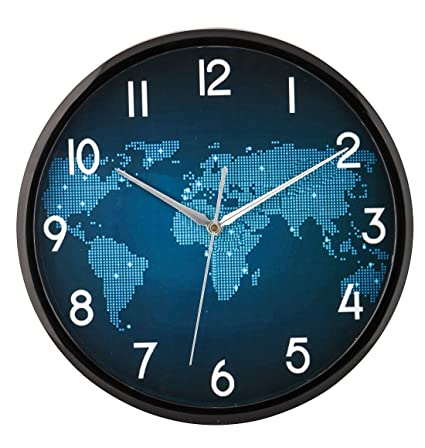 Buy elios world map wall clock with glass for home kitchen living elios world map wall clock with glass for home kitchen living room black gumiabroncs Choice Image