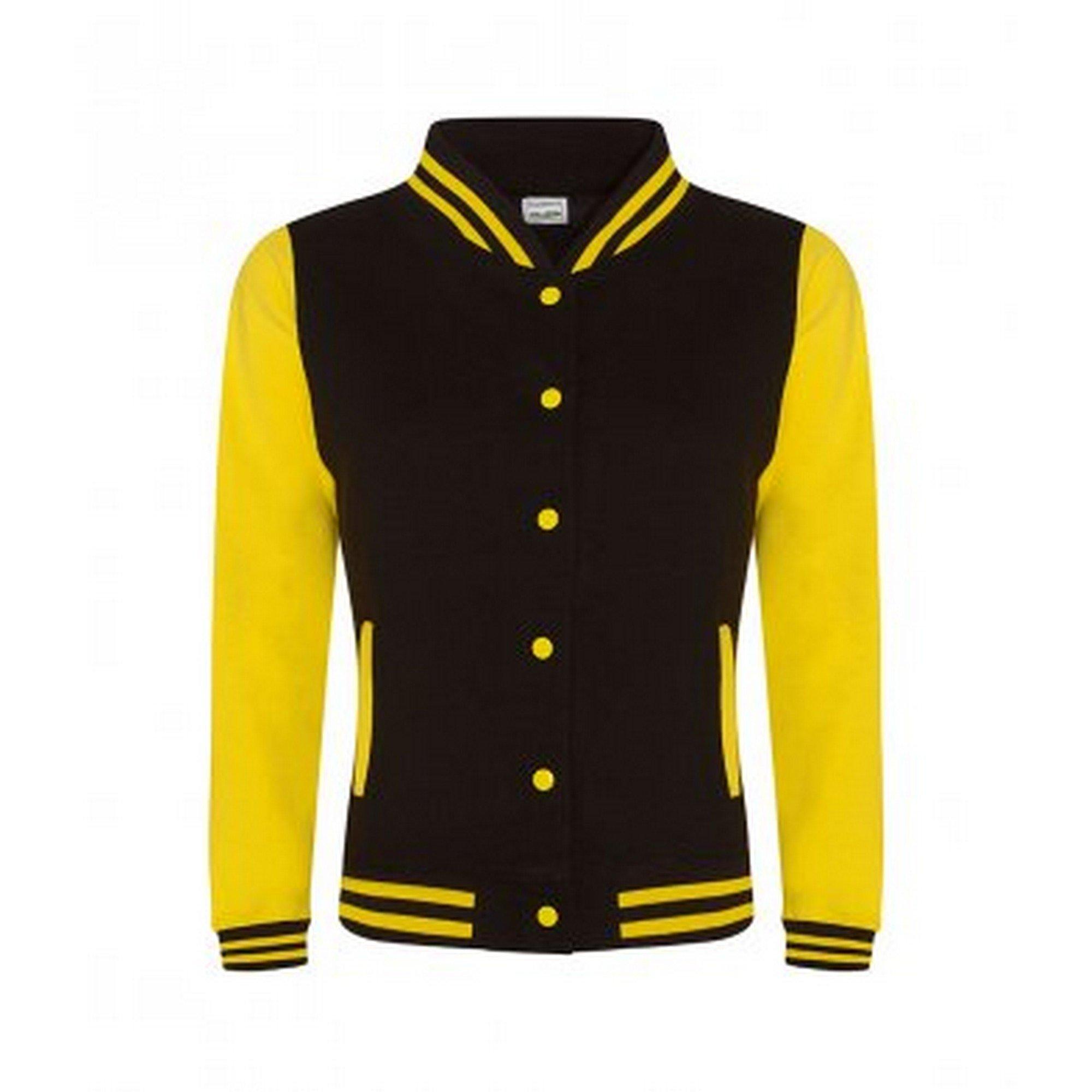 Awdis Womens/Ladies Girlie Varsity Jacket (Extra Large) (Jet Black/Sun Yellow)