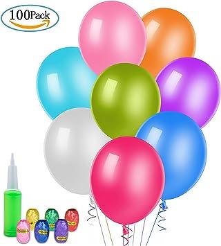 100 Globos de l/átex de Colores Variados y Cinta de Colores