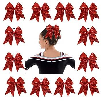 Maroon cheer bows big size cheap cheerleading pony hair girl hairbows US seller