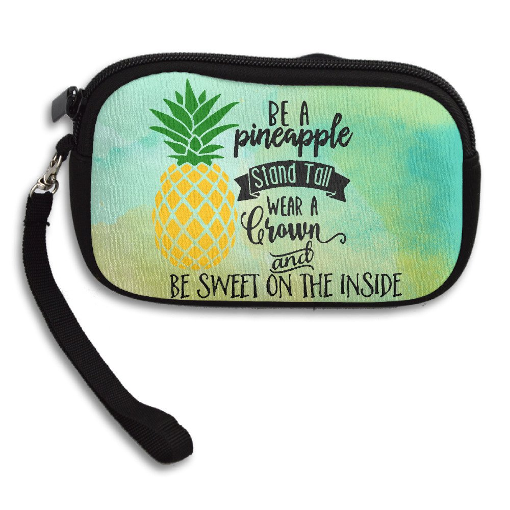 Be A Pineapple Zipper Change Purse Coin Wallet Card Holder With Key Ring Portable Purse Pouch Bag