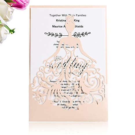 PONATIA 25PCS Lacer Cut Wedding Invitations Card Hollow Bride Cards For Bridal Invitation Engagement