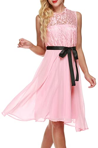 Meaneor Women's A-Line Sleeveless Lace Cocktail Party Prom Dresses With Belt