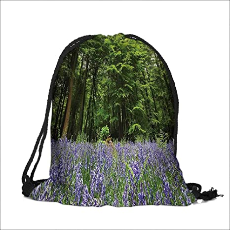Drawstring Cotton Linen Cloth A Sea Of Bluebells Flowers In Forest  Springtime April Countryside Seasonal Picture