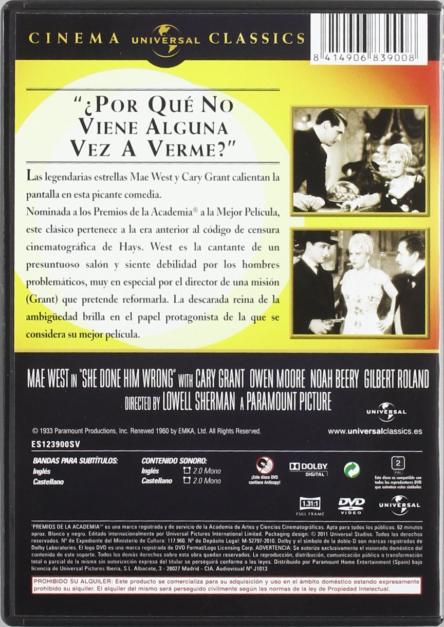 Lady lou [DVD]: Amazon.es: Mae West, Cary Grant, Owen Moore, Gilbert ...