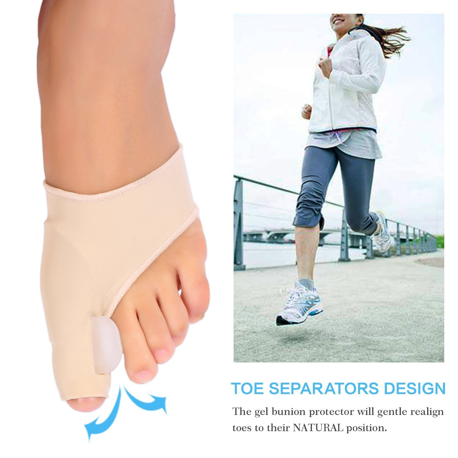 Amazon.com: Gel Toe Separator Bunion Splint - Bunion Protector Sleeves Corrector with Gel Toe Separators Spacers Straightener and Spreader 2 Booties for ...