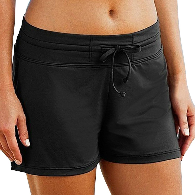 HOLYSNOW Women Swim Brief Board Bottoms Plus Size Sun Pretection Beach Shorts, Black, L(US 12-14)