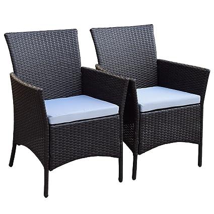 2er Set Polyrattan Rattan Stühle Stuhl Gartenstuhl Sessel Garten Sj 07 Braun