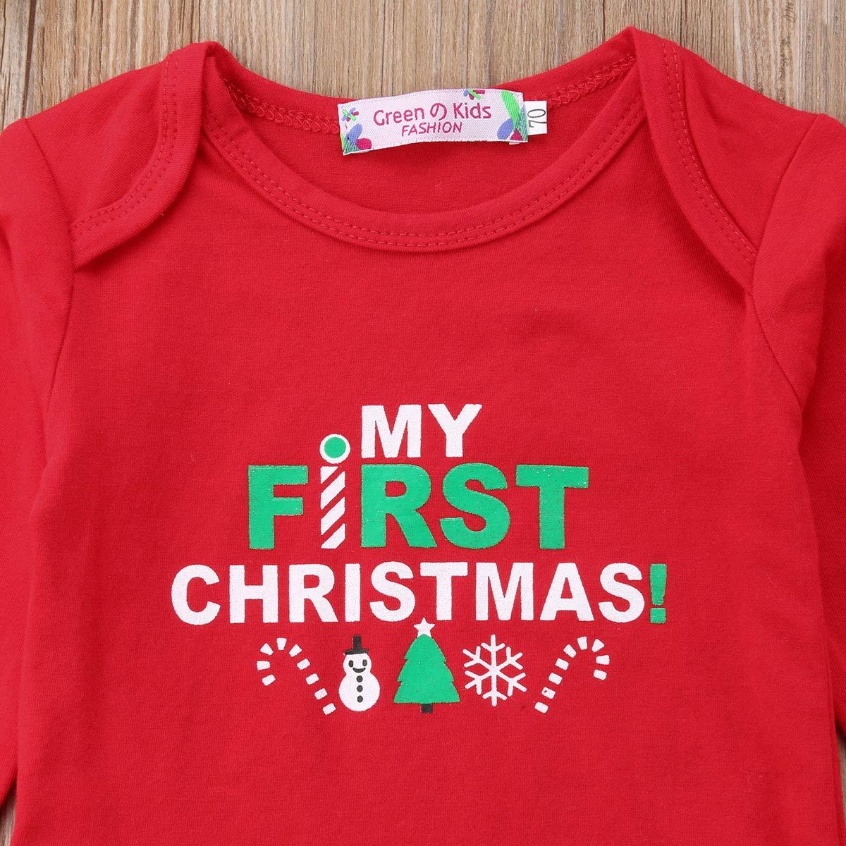 975d2131a98 ... My First Christmas Outfit Toddler Newborn Baby Girls Xmas Romper+Bowknot  Santa Skirt+Headband ...