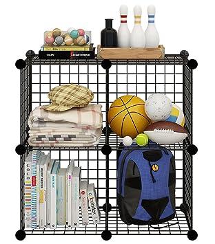 KOUSI Wire Cube Storage Metal Shelving Unit Bookcase DIY Closet  Organization System, 4 Grids Black