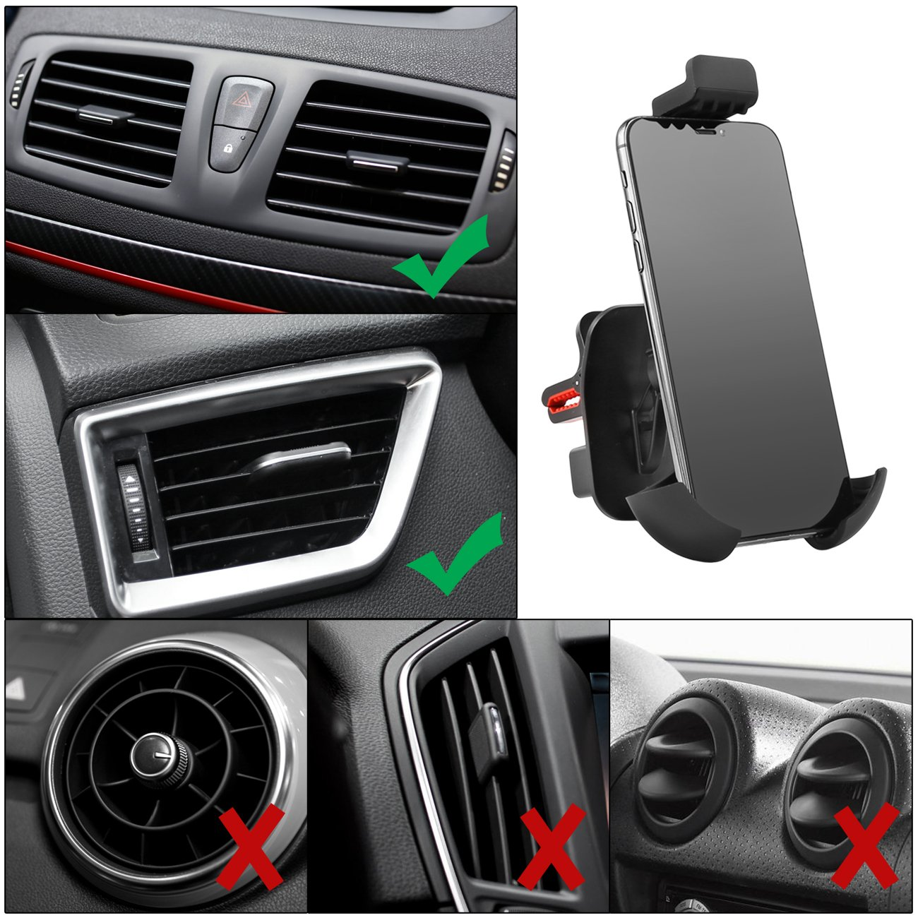 Phone Holder for Car,360 ° Rotation Car Phone Mount for iphone,Universal Car Air Vent Phone Holder,sunrin