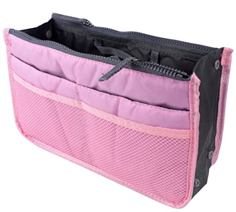 1431eb2dd985 Pink   Eforstore Travel Makeup Insert Handbag Organiser Tidy Cosmetic  Pocket Purse Zipper Bag Toiletry Bags for Women Men Girls Boys Kids Adults  Teens  ...