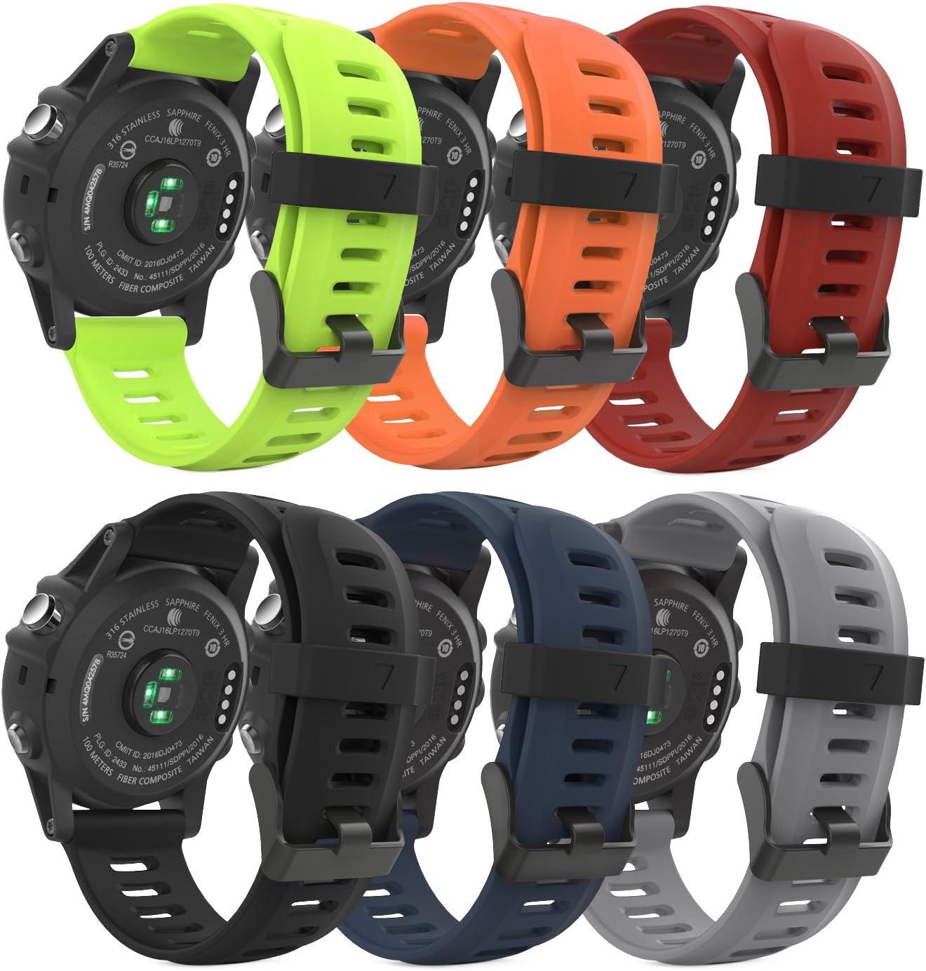 MoKo Band Compatible with Garmin Fenix 6X/Fenix 6X Pro/Fenix 3/Fenix 3 HR/Fenix 5X/5X Plus/D2 Delta PX/Descent Mk1 Smart Watch, [6PACK] Soft Silicone Replacement Watch Band, Multi Color A
