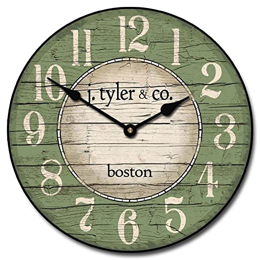 Boston Harbor Green Wall Clock, Available in 8 sizes, Whisper