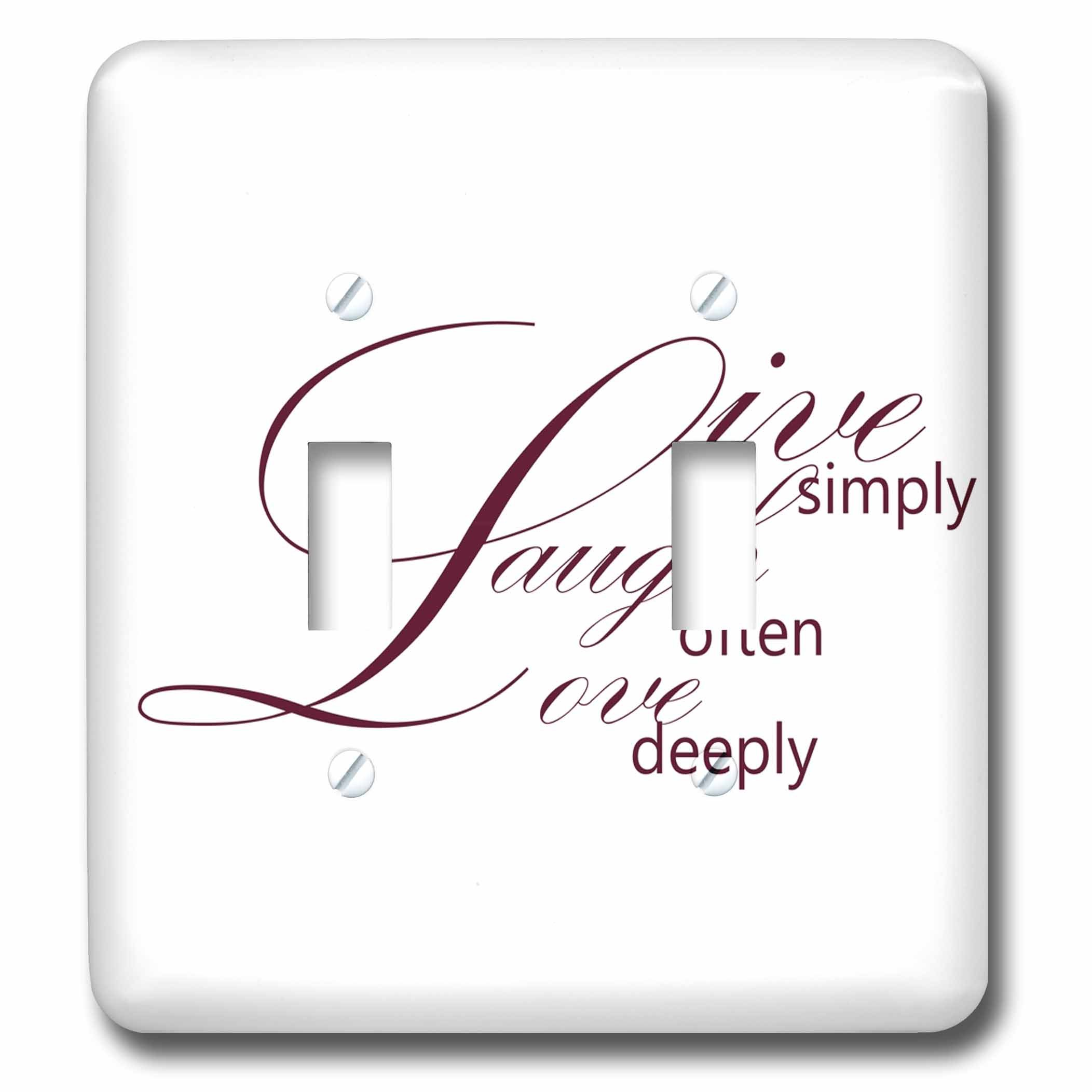 3dRose LLC lsp_79138_2 Live Simply, Laugh Often, Love Deeply- Inspirational Words Double Toggle Switch by 3dRose (Image #1)