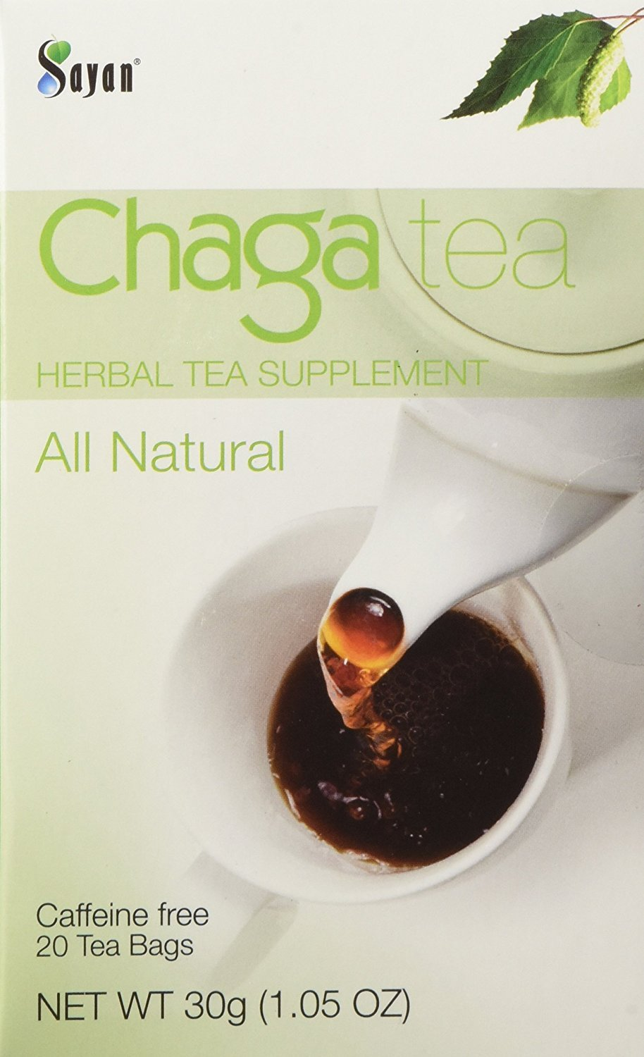 Sayan Siberian Chaga Mushroom Tea (Unbleached 20 Tea Bags, Caffeine Free) Exclusive blend of Raw + Extract, Wild Harvested Herbal Supplement and Natural Antioxidant