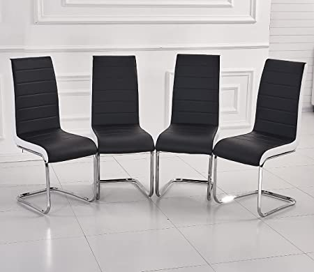 Fabulous MODERN FAUX LEATHER DINING CHAIRS BLACK WHITE-SIDE METAL CHROME  VU39
