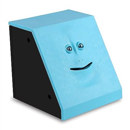 ShinMor Face Coin Bank Money Eating Coin Bank Battery Powered Monkey Saving  Box (Blue)