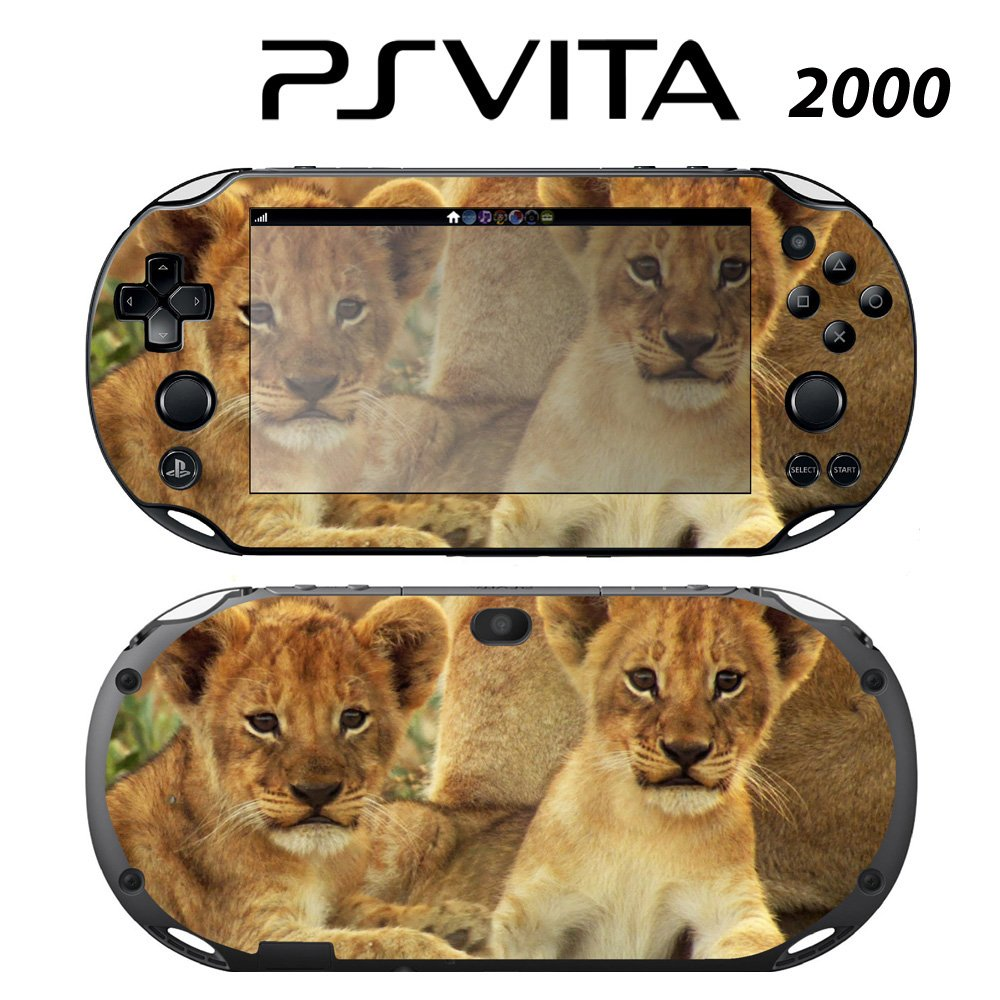 Decorative Video Game Skin Decal Cover Sticker for Sony PlayStation PS Vita Slim (PCH-2000) - Cute Baby Lion Cubs