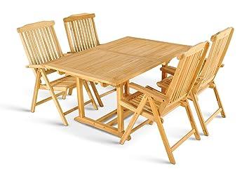 XXS® Möbel Gartenmöbel Set Caracas 5tlg Vier Praktische Klappstühle Aruba Holz  Tisch Kuba Ausziehbar Mit
