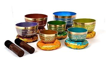 Bermoni Tibetan Colorful 7 Chakra Meditation Cuenco para ...