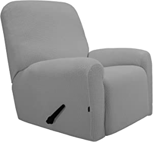 Easy-Going Recliner Stretch Sofa Slipcover Sofa Cover 4-Pieces Furniture Protector Couch Soft with Elastic Bottom Kids, Spandex Jacquard Fabric Small Checks(Recliner,Light Gray)