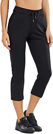 CRZ YOGA Women's On The Travel Mid Rise Capri Joggers Stretch Casual Pants Crop with Pockets