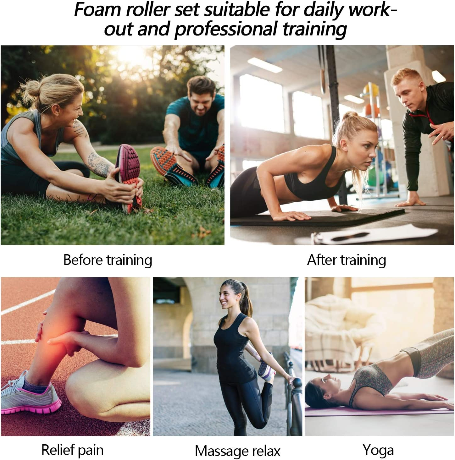 HBselect Foam Roller Rodillo Masaje Muscular Bola Masaje Rulo Masaje Rollo Masaje para Relajar Muscular Pies y Espalda Pierna Fitness