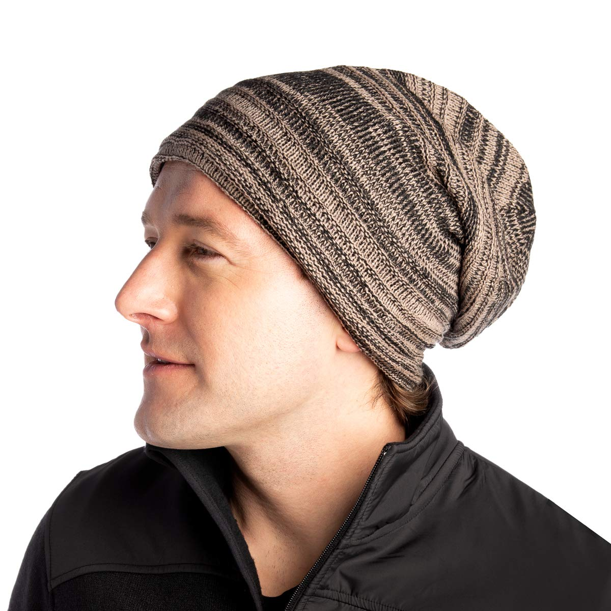 a5e5680e9669 DG Hill Mens Beanie Hat Long Slouchy Striped Ribbed Knit Hat Lightweight  Thick Brown/Black