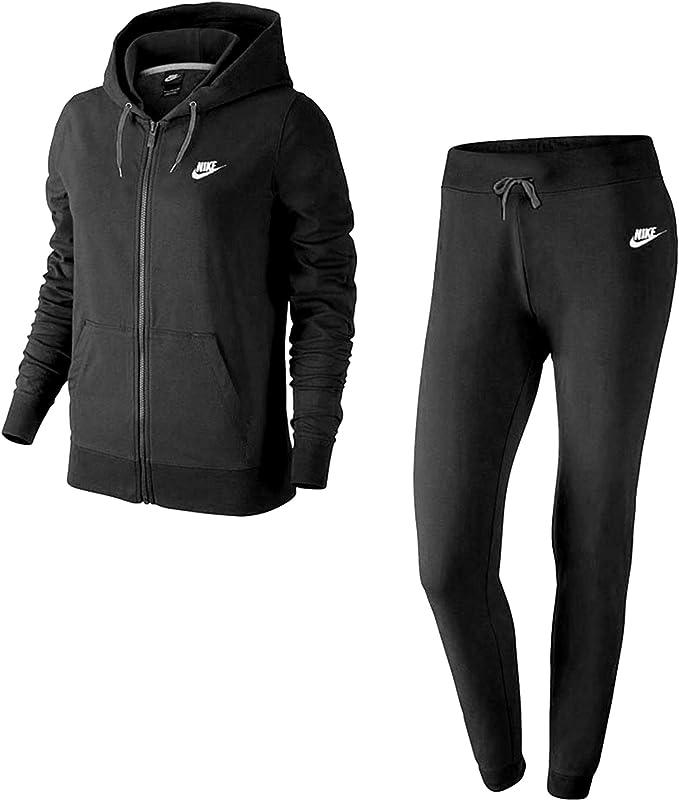 Nike W NSW TRK Suit FLC Trainingsanzug Schwarz L Damen