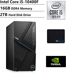 Dell G5 Gaming Desktop, Intel Core i5-10400F, 16GB DDR4 Memory, 2TB HDD, NVIDIA GeForce GTX 1660 Super, WiFi, HDMI, KKE Mousepad, Windows 10