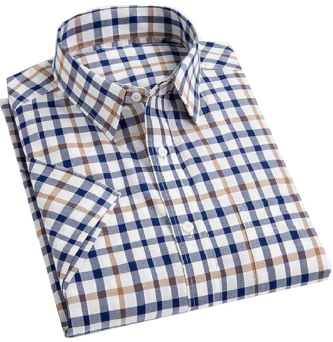 YUNY Mens Classic Plaid Summer Basic Cotton Short-Sleeve Casual Shirt 12 M