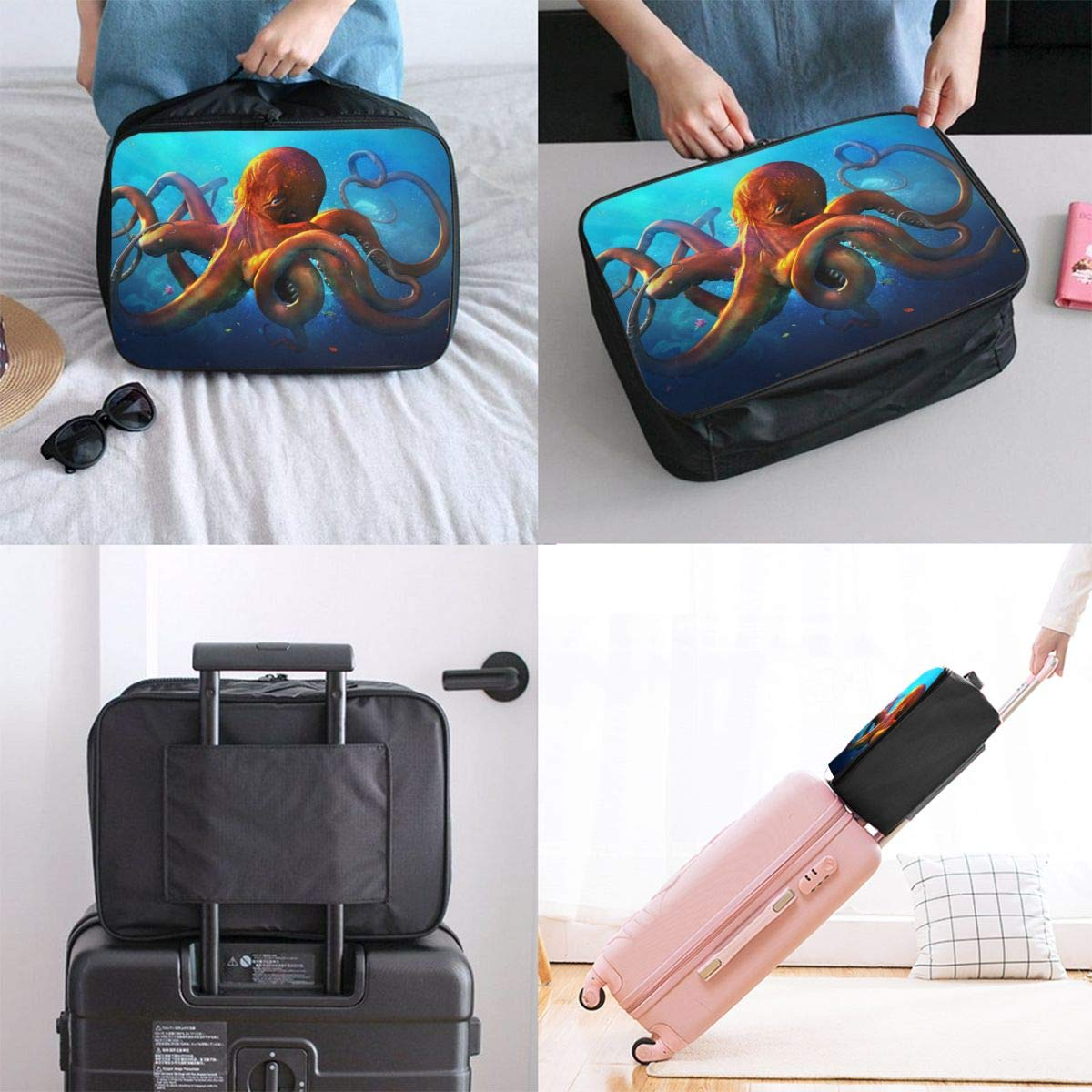 YueLJB Slouching Octopus Lightweight Large Capacity Portable Luggage Bag Travel Duffel Bag Storage Carry Luggage Duffle Tote Bag