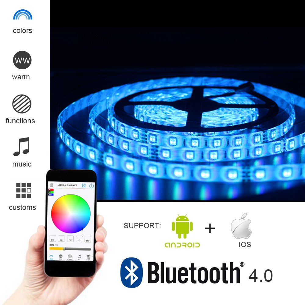 KORJO Solarphy 5050 LED Strip Light 16.4ft (5m) 300 LEDS Waterproof Color Changing LED Strip RGB Rope Light Kit With Bluetooth Smartphone APP Controller & 24V 5A Power Supply for iPhone Android