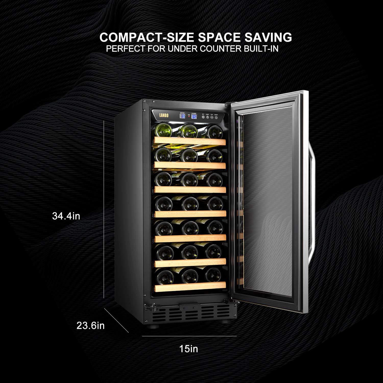 LANBO Compact Wine Cellar Refrigerator 33 Bottles Under Counter Compressor Wine Cooler Black and Stainless Steel Trim