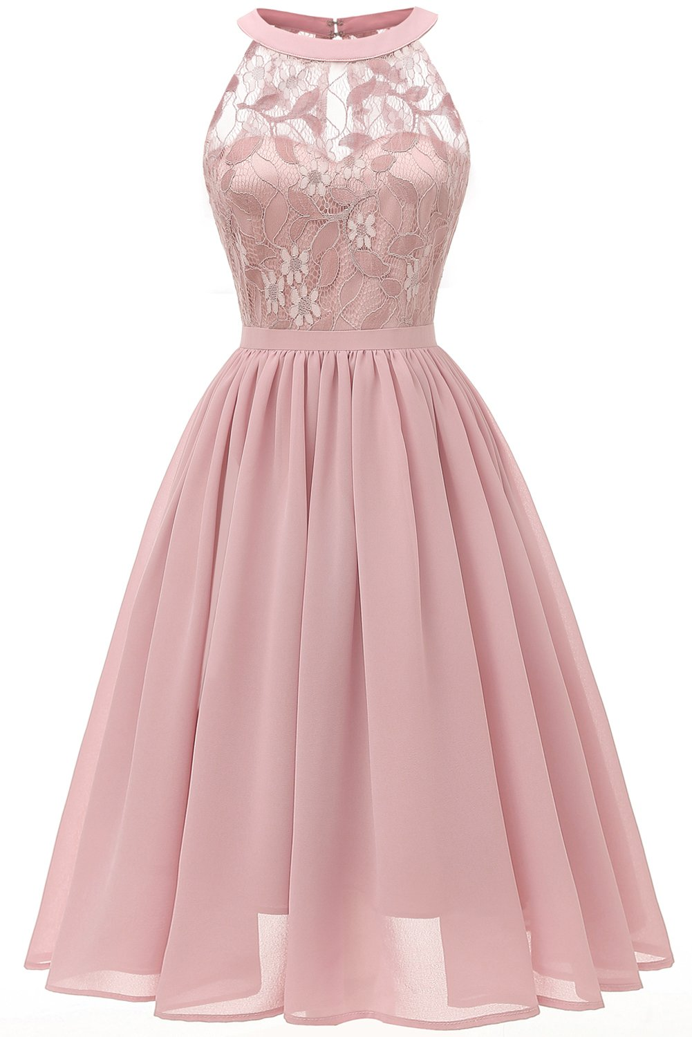 MILANO BRIDE Vintage Cocktail Party Halter Floral Lace Homecoming Prom Dress for Women-XXL-Blush