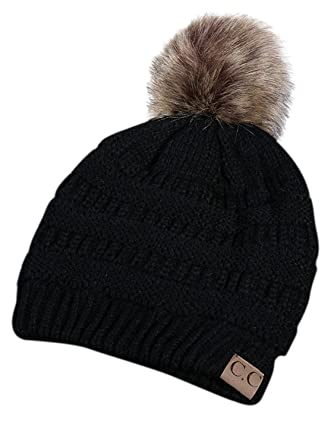 8cb68428373 Choies Women Unisex Winter Warm Chunky Cable Knit Cute Pom Pom Beanie  Bobble Hat Ski Cap Black Onesize  Amazon.co.uk  Clothing