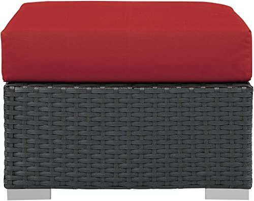 Modway Sojourn Wicker Rattan Outdoor Patio Sunbrella Fabric Ottoman in Canvas Red