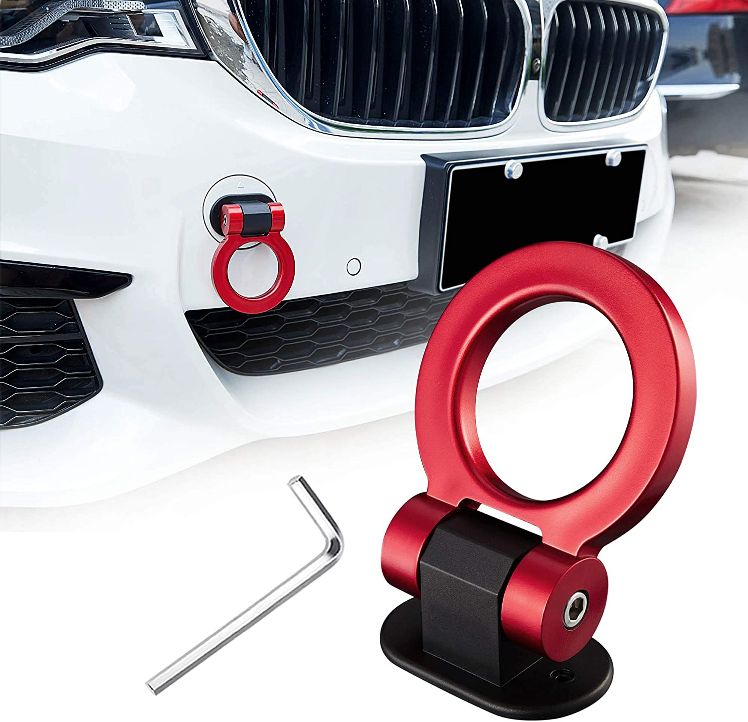 TOMALL Tow Hook Kit Red Car Decorations Sticker Car Decor Bumper for Auto Exterior Accessories (ONLY Decoration)