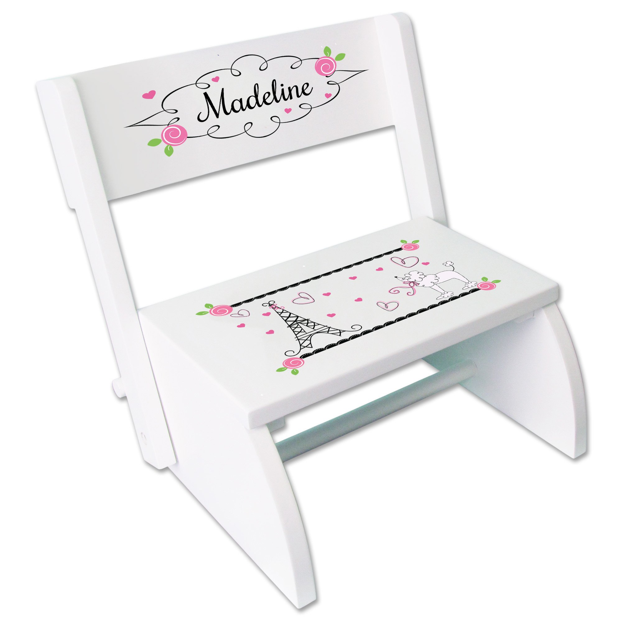 Personalized France Paris Childrens and Toddlers White folding stool