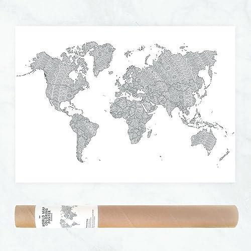 Detaillierte Mandala Weltkarte Oder Reisekarte Poster Zum Ausmalen