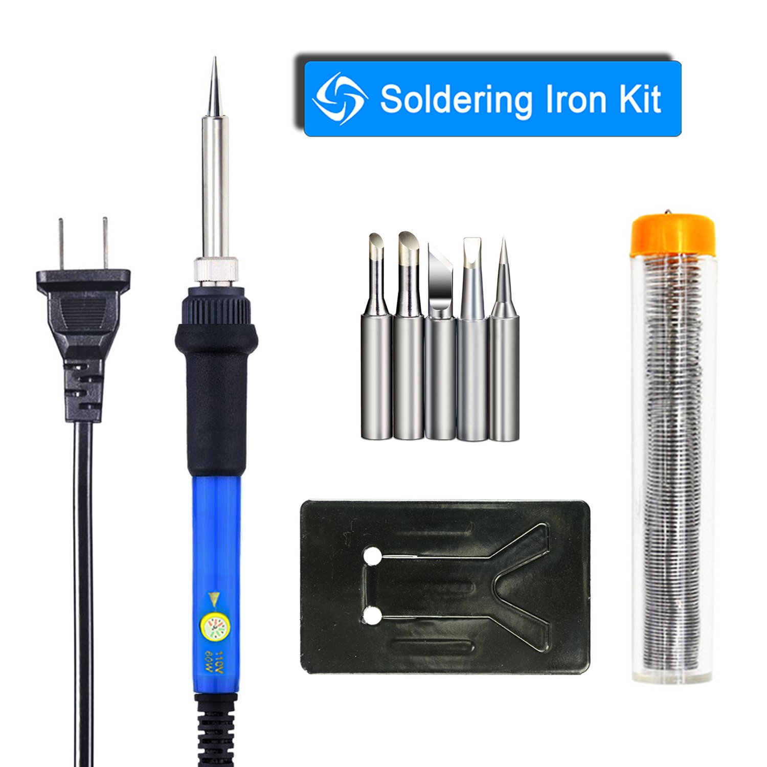 YOUSHARES® Adjustable Temperature Soldering Iron Kit 4 in 1- including 60W 110V Soldering Gun / Pen, Extra 5pcs Various Soldering Iron Tips, Additional Solder Wire tube and Y-type Soldering Iron Stand