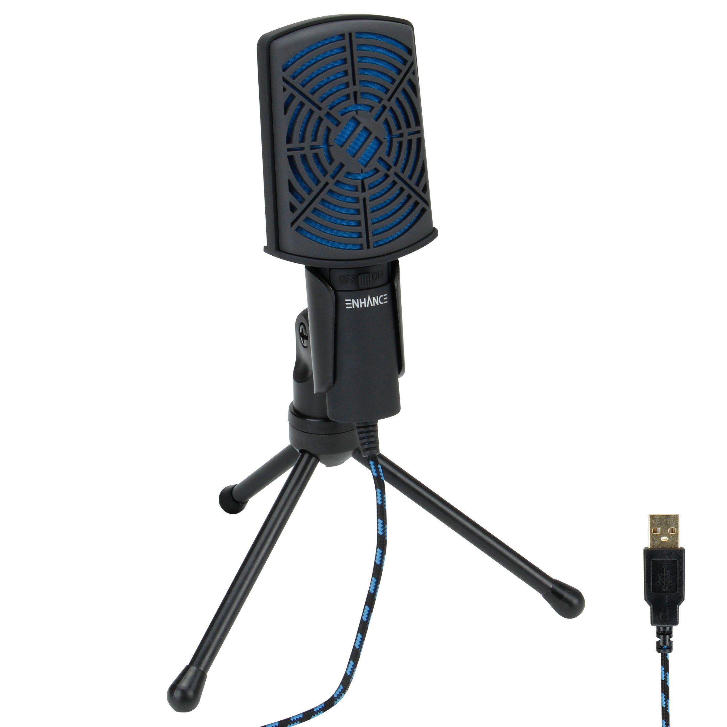 ENHANCE USB Condenser Gaming Microphone - Computer Desktop Mic for Streaming & Recording with Adjustable Stand Design and Mute Switch - For Skype, Conference Calls, Twitch, Youtube, and Discord - Blue