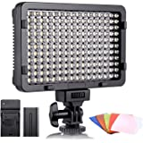 ESDDI LED Video Light, 176 LED Ultra Bright Dimmable CRI 95+ Camera Light with Battery Set and 5 Color Filters for DSLR…